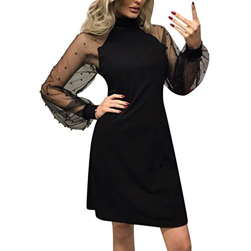 Damen Abendkleider, Marlene Frauen Perle Friesen Mesh-Ärmel Kleid Langarm A-Line Mini Party Kleid Sexy einfarbig Maxikleid