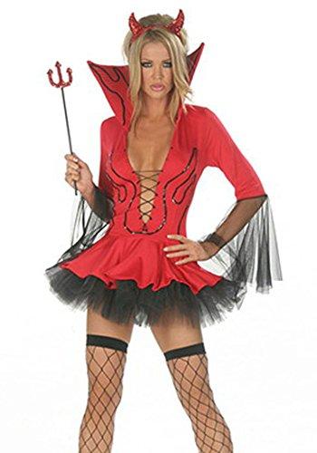 arneval Teufel Mottoparty 3PCS Kostüm für Halloween Rot-02 One Size (Halloween Schlümpfe Kostüme)