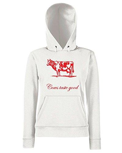 T-Shirtshock - Sweats a capuche Femme OLDENG00037 cows taste good Blanc