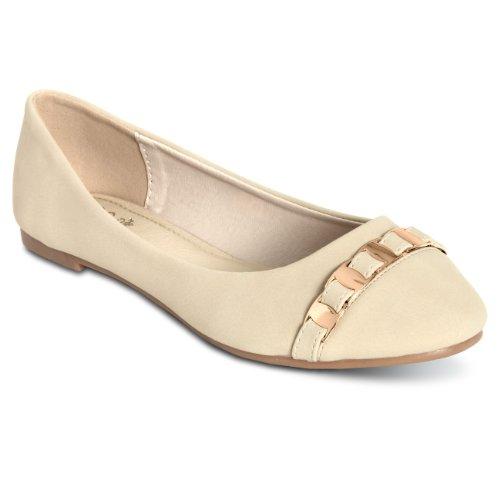 CASPAR Chaussures pour femme / Ballerines élégantes avec chaînette dorée - 3 coloris - SBA009