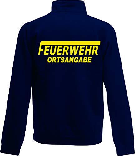 Shirt-ideen.com Feuerwehr Zip Neck Sweat, Navy Bedruckt mit Neongelb oder reflexsilber (Large, Neongelb)