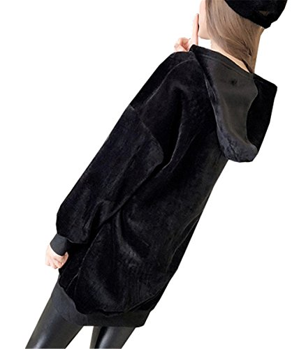 YPtong Kawaii Stampa Animalier Velluto Vestito Felpa con Cappuccio Abiti Felpe Donna Invernali Ragazza Abito Blusa Femminili Jumper Pullover Maglia Top Taglie Forti Eleganti nero-2