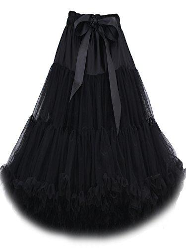 FOLOBE Frauen-Ballettröckchen-Kostüm-Ballett-Tanz mehrschichtiger geschwollener Rock-erwachsener luxuriöser weicher Petticoat 60cm / 23.6  Schwarz