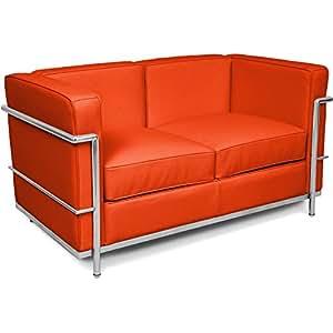 Canapé design LC2 style Le Corbusier 2 places - Simili Cuir Orange