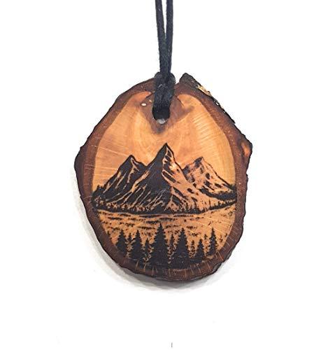SOULSLICES Gebirge Wald Holz-Kette - Natur - Holzanhänger - Vegan - Nachhaltig - Astschmuck - Gravur - Yoga - Bedeutung- Geschenk - Natur-Schmuck - Damen - Frauen