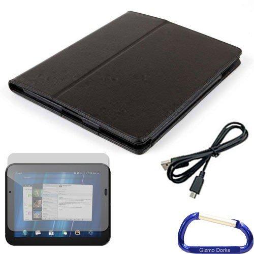 Gizmo Dorks Kunstleder Folio Schutzhülle (schwarz), Displayschutzfolie, und Micro USB Kabel mit Karabiner Schlüsselanhänger für HP TouchPad Schlüsselanhänger Touchpad