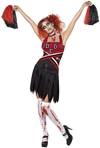 (Kostüm High School Horror Cheerleader mit Kleid und Pompons, X-Small)