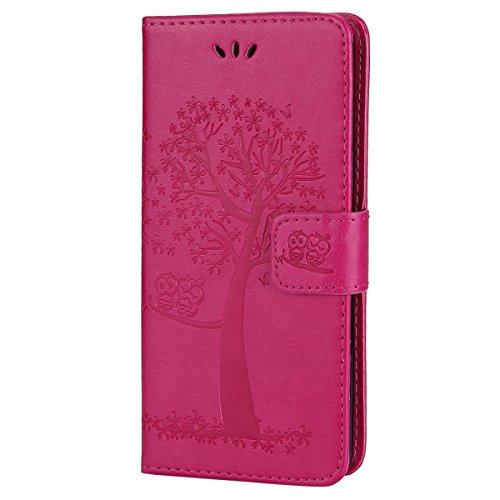 EUWLY Kompatibel mit Galaxy S6 Edge Hülle Ledertasche Handytasche Leder Flip Case Vogel Baum Leder Hülle Bookstyle Brieftasche Klapphülle Handyhülle Kredit Kartenfächer Magnetverschluss,Hot Pink