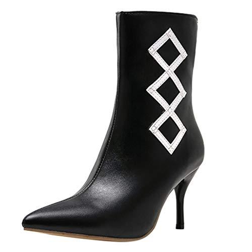 Damen Ankle Stiefel Mode-Frauen-dünne Fersen-Reißverschluss-Normallack-Kurze Beuten zeigten Zehe-Schuhe Täglich Wild Basic Ausgehen Dating Pendeln (Kostüm 4 Ferse)