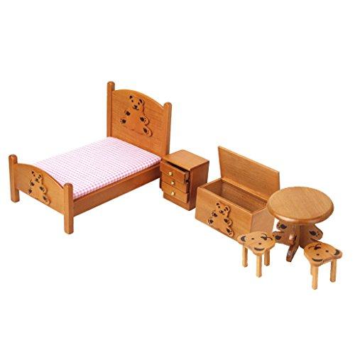 1/12 Dollhouse Miniature Childrens Bedroom Wooden Furniture Set