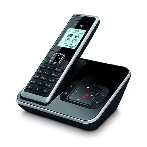 Telekom Sinus A 206 Schnurlostelefon mit Anrufbeantworter und Grafikdisplay (Farbe: schwarz, 150 Telefonbucheinträge, 20 Min Speicherdauer AB, monochromes Grafikdisplay)
