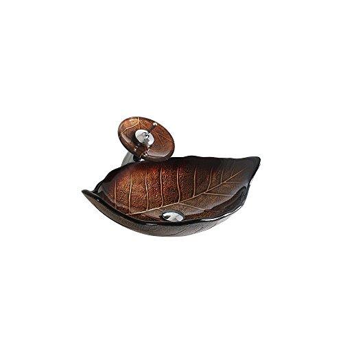 HomeLava Waschbecken Blatt Form Rund Glas Aufsatz Waschschale mit Wasserfall Wasserhahn Se