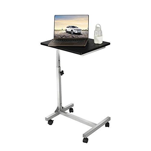 Aingoo Laptoptisch auf rollen Computertisch PC Tisch Notebooktisch Schreibtich bett Frühstückstisch Bestelltisch Laptop Betttisch Bett Table Desk 48 * 37* 67-79cm(18.8 * 14.6 * 26.3-31.1Inches) Tisch in Schwarz