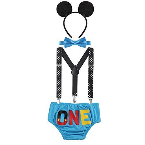 Kleinkind Baby Jungen Mickey Maus 1. / 2./ 3. Geburtstag Outfit Fotoshooting Kostüm Fliege +Clip-on Hosenträger +Hosen +Maus Ohren 4pcs Bekleidungssets Halloween Karneval ()