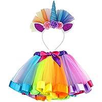 VAMEI Rainbow Ribbon Tutu Skirt para Niñas Pequeñas Fotos de Disfraces de Ballet con Unicorn Flower