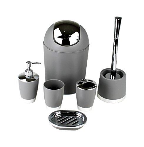 GMMH 6tlg BADSET Badezimmer ZUBEHÖR Set SEIFENSPENDER Halter WC BÜRSTE BADGARNITUR (Steingrau)