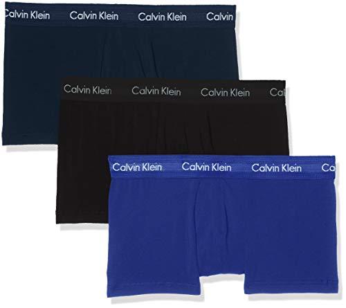 Calvin Klein Herren 3p Low Rise Trunk Boxershorts, Blau (Black/BlueShadow/CobaltWater DTM WB 4KU), Large (3erPack)