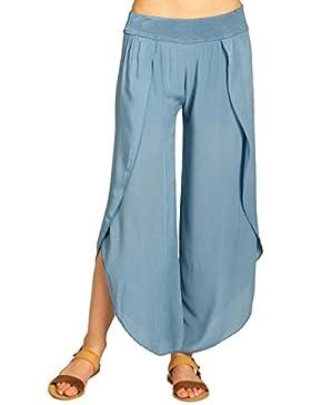 CASPAR KHS047 Pantalones Palazzo para Mujer/Pantalón de Verano Hecho de Viscosa Ligera