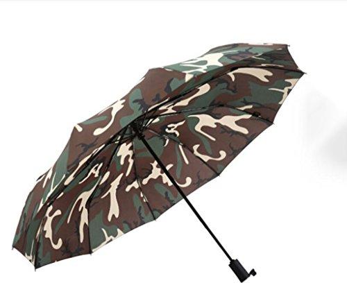ZHDC Sombrilla de camuflaje al aire libre 10 Huesos Paraguas Automáti