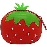 Dosige 1PCS Mujer Mini Cartera,Monedero con Cremallera, Bolso de Llave,Forma de fruta linda de Billetera,Material de Silicona size 9.5x7.5x4.5cm (Cinta roja deja fresas)