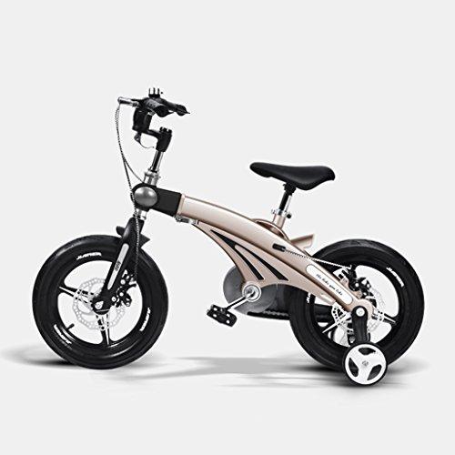Qiangzi Neues Modell 3 Rad Baby Dreiräder Einstellbare Kinder-Bike 3-jährige Baby-Kinderwagen 12/14/16 Zoll Kind Fahrrad Fahrrad Mountain Bike Bestes Geschenk für Kinder ( Farbe : Gold , größe : 14 inches )