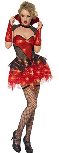 Smiffys Fever, Damen All That Glitters Vampir Kostüm, Leuchtendes Kleid mit Umhang und Armstulpen, Größe: M, 26145 (13 Jährigen Halloween Kostüme)