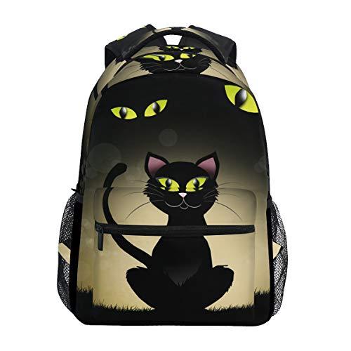 Ahomy Schulrucksack Buchtasche für Teenager Mädchen Jungen Halloween schwarz Katzenauge Reiserucksack Umhängetasche Wandertasche für Damen Herren