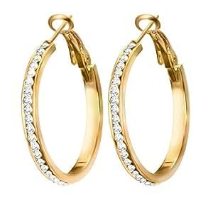 Diamante Cubic Zirconia CZ Womens Hypoallergenic Hoop ... - photo #22