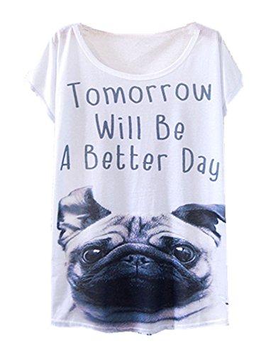 YICHUN Damen T-Shirt Mehrfarbig mehrfarbig One size Chien 18#