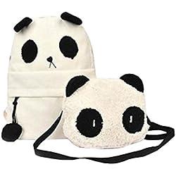 ACM - Mochila y bolso, diseño de oso panda, color blanco y negro