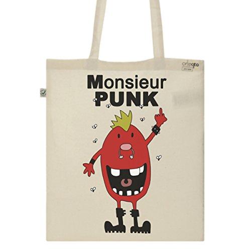 Tote Bag Imprimé Ecru - Toile en coton bio - Monsieur Punk