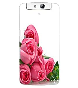 ColourCraft beautiful Rose Bouquet Design Back Case Cover for OPPO N1