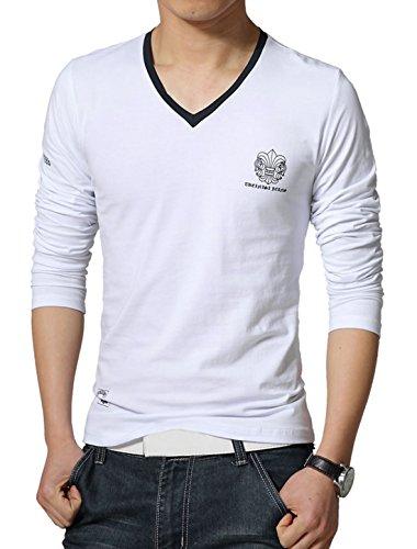 Man Neuartige Aufdrucke Detail V Ausschnitt Langärmelig Freizeit Paspeliert T-shirt Weiß
