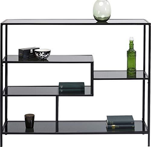 Kare Design Regal Loft 100cm, offenes Wandregal im Industrie-Stil, Bücherregal aus Glas und Stahl, edler Raumtrenner für Wohn -und Esszimmer, TV - Board (H/B/T) 100x115x30cm -
