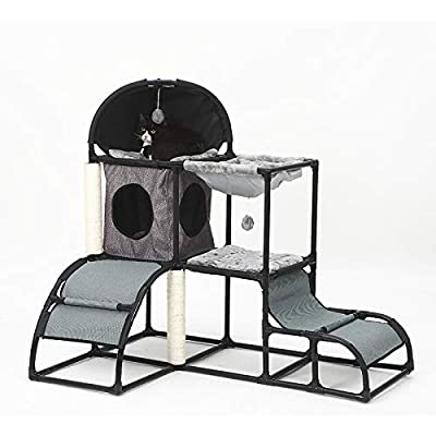 LBLA Cat tree Cat Climbing Tower for kitten with Scratching Post Cat Tower Activity Centre with a hammock Grey by LBLA