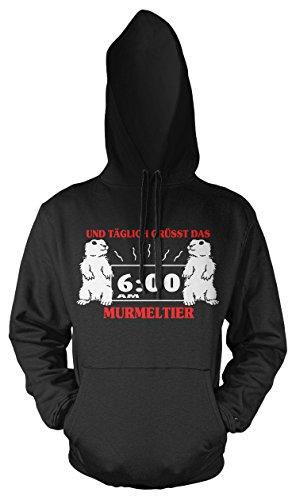 Täglich grüsst das Murmeltier Männer und Herren Kapuzenpullover | Spruch Bill Murray Geschenk (XL, Schwarz) (Ghostbusters Kostüme Ideen)
