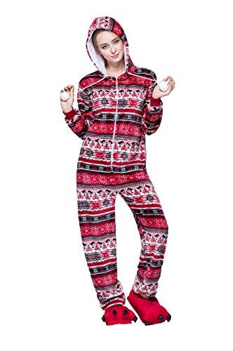 Honeystore Erwachsene Unisex Kostüm Pyjama Tieroutfit Tierkostüme Rot Vogel Tier Onesize Sleepsuit mit Kapuze (Erwachsene Billig Cute Für Kostüme)