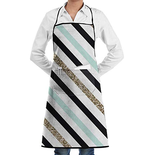 Drempad Schürzen Stripe Bib Apron Chef Apron - with Pockets for Male and Female,Waterproof, Resistant to Droplets, Durable, Machine Washable, Comfortable, Easy Care Apron (Easy Star Wars Kostüm)