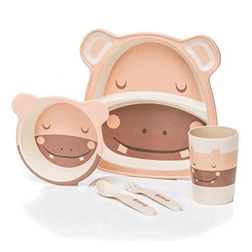 all Kids United Kindergeschirr-Set aus Bambus-Geschirr für Kinder Kindergeschirrset aus Bambus Set 5-teilig; Hippo