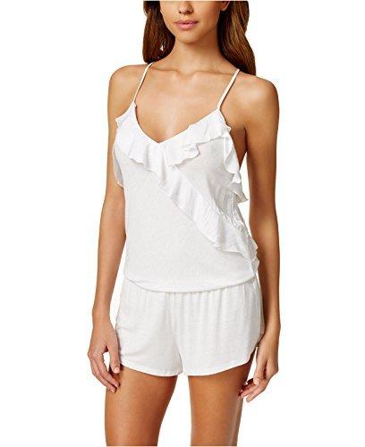 Betsey Johnson Womens Printed Knit Romper White L