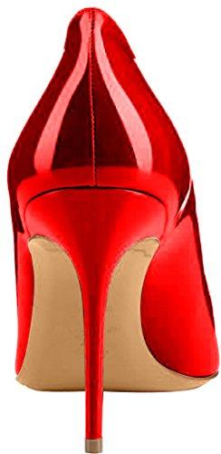 ELEHOT Femme 8.5cm Taille EU 34-46 Toyclock Aiguille 8.5CM Synthétique Escarpins Rouge