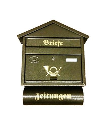 Briefkasten mit Zeitungsfach Post aus Metall Zeitungen Post antik Mailbox Schild (Bronze - Gold)