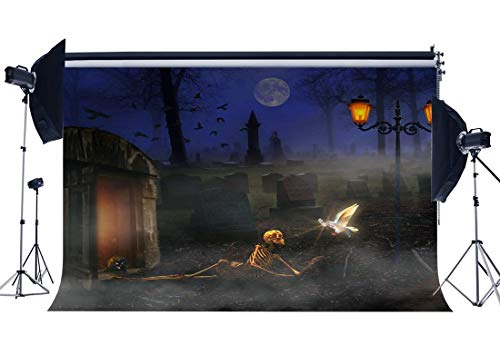JoneAJ Halloween Horror Nacht Kulisse 5X3FT Vinyl Spooky Haunted Castle Kulissen Skelett Grabstein Heilige Taube Alle Heiligen 'Tag Fotografie Hintergrund Kinder Kostüm Party Foto Studio Prop ()
