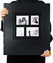 Photo Album 4x6 600 Photos Black Pages Large Capacity Leather Cover Wedding Family Photo Albums Holds 600 Hori
