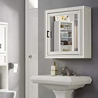 Crosley Furniture Tara Bathroom Mirror Cabinet, Vintage White