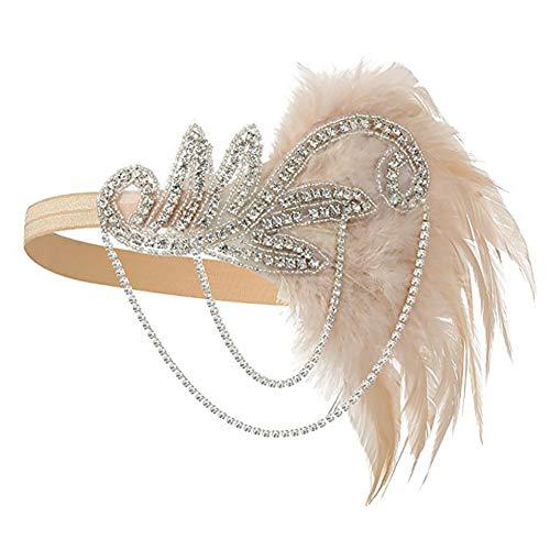 Flapper Kostüm Champagner - Damen Flapper Stirnband, Casue 1920er Jahre Zubehör Set Flapper Kostüm Accessoires Kristall Feder-Stirnband Party Headwear Kopfschmuck Boho Indianer Haarschmuck Haarband
