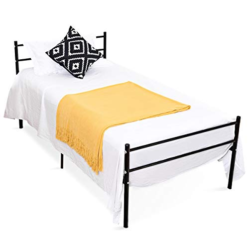 COSTWAY Metallbett, Einzelbett Metall, Tagesbett Jugendbett Kinderbett Gästebett Bettgestell Bettrahmen, Schwarz (Modell 1) -