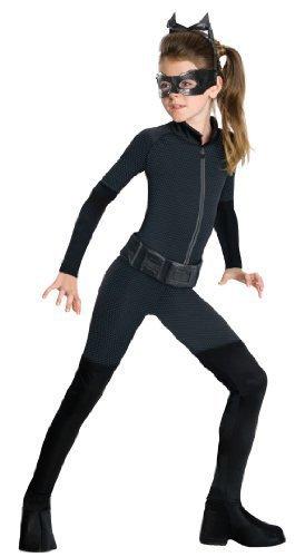 (Mädchen Catwoman Batman Catsuit Schwarze Katze Einbrecher Halloween Film Kostüm Kleid Outfit 3-13 Jahre - Schwarz, Schwarz, 8-10 Years)