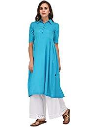 Pistaa Teal Solid Frock Kurta With Plus Size