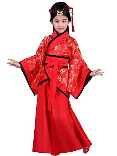 BOZEVON Hanfu - Girls Red Joyous Hanfu Niños Teatro Drama Disfraces,Rojo (Estilo 2),EU 150=Tag 160